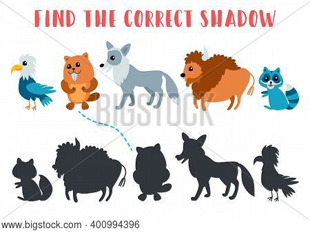Find The Correct Shadow. Educational Matching Game For Children. Kids Learning Game. Preschool Works