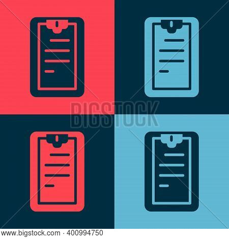 Pop Art Clipboard With Checklist Icon Isolated On Color Background. Control List Symbol. Survey Poll