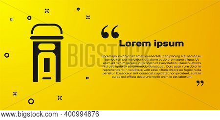 Black London Phone Booth Icon Isolated On Yellow Background. Classic English Booth Phone In London.