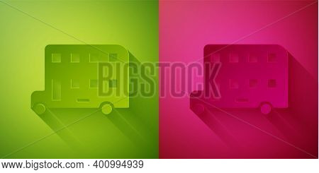 Paper Cut Double Decker Bus Icon Isolated On Green And Pink Background. London Classic Passenger Bus