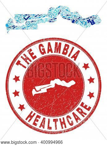 Vector Mosaic The Gambia Map With Vaccine Icons, Hospital Symbols, And Grunge Doctor Seal Stamp. Red