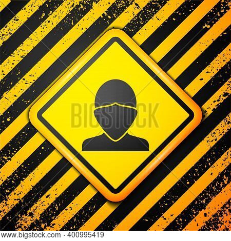 Black Vandal Icon Isolated On Yellow Background. Warning Sign. Vector