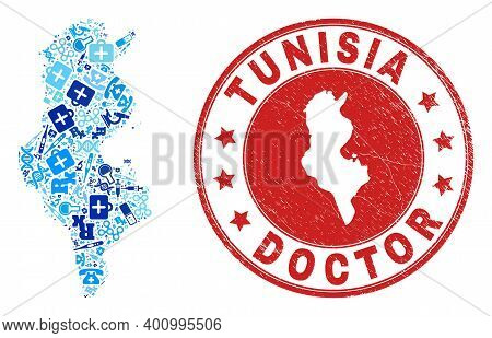 Vector Mosaic Tunisia Map With Vaccine Icons, Chemical Symbols, And Grunge Health Care Watermark. Re