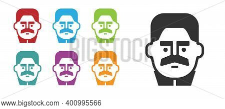 Black Portrait Of Joseph Stalin Icon Isolated On White Background. Set Icons Colorful. Vector