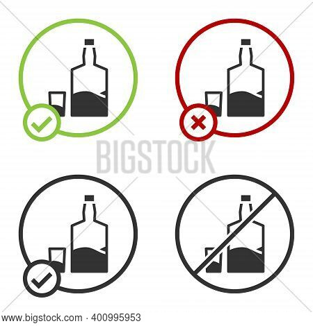 Black Tequila Bottle And Shot Glass Icon Isolated On White Background. Mexican Alcohol Drink. Circle