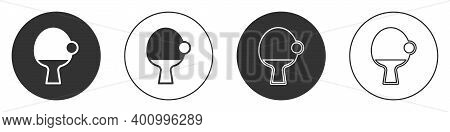 Black Racket For Playing Table Tennis Icon Isolated On White Background. Circle Button. Vector