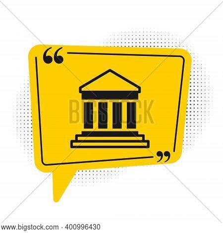 Black Parthenon From Athens, Acropolis, Greece Icon Isolated On White Background. Greek Ancient Nati