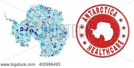 Vector Mosaic Antarctica Continent Map With Vaccination Icons, Laboratory Symbols, And Grunge Doctor