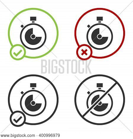 Black Stopwatch Icon Isolated On White Background. Time Timer Sign. Chronometer Sign. Circle Button.