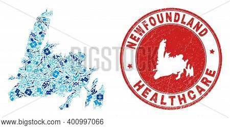 Vector Mosaic Newfoundland Island Map With Vaccine Icons, Analysis Symbols, And Grunge Health Care R