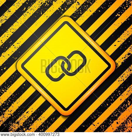 Black Chain Link Icon Isolated On Yellow Background. Link Single. Hyperlink Chain Symbol. Warning Si