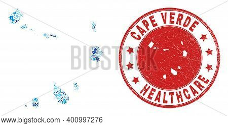 Vector Collage Cape Verde Islands Map With Medical Icons, Test Symbols, And Grunge Health Care Stamp