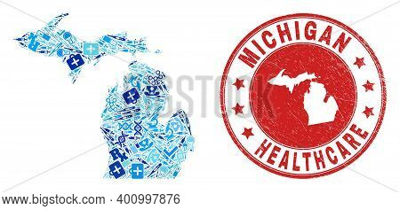 Vector Collage Michigan State Map With Injection Icons, Hospital Symbols, And Grunge Health Care Imp