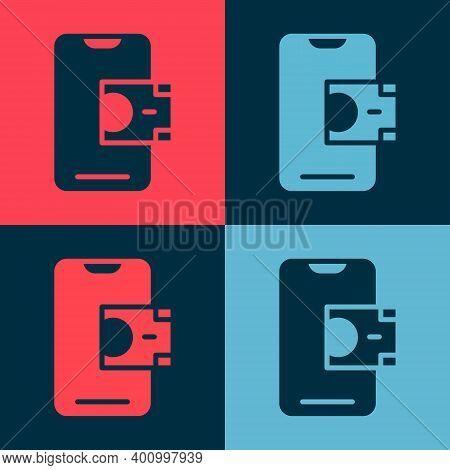 Pop Art Mobile Banking Icon Isolated On Color Background. Transfer Money Through Mobile Banking On T