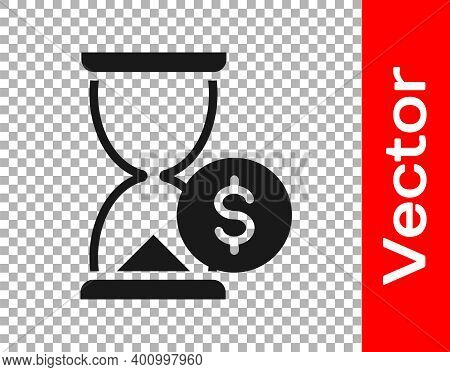Black Hourglass With Dollar Icon Isolated On Transparent Background. Money Time. Sandglass And Money