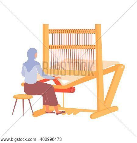Arabic Woman Weaving Carpet On Weaver Loom Flat Vector Illustration