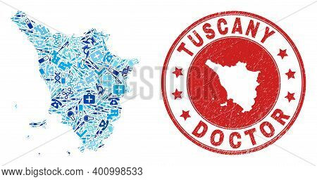 Vector Collage Tuscany Region Map Of Dose Icons, Hospital Symbols, And Grunge Health Care Rubber Imi