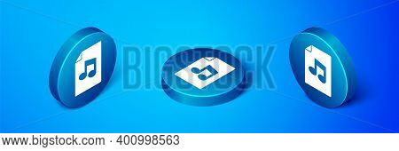 Isometric Music Book With Note Icon Isolated On Blue Background. Music Sheet With Note Stave. Notebo