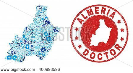Vector Mosaic Almeria Province Map With Healthcare Icons, Hospital Symbols, And Grunge Doctor Imprin