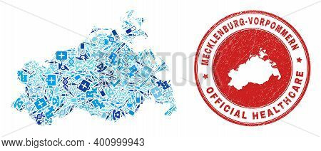 Vector Collage Mecklenburg-vorpommern Land Map Of Dose Icons, Chemical Symbols, And Grunge Health Ca