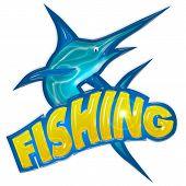 fishing badge with swordfish isolated on white background poster