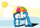 two penguins under umbrella with the sun shine bright. poster