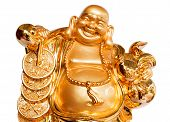 Smiling Buddha - Chinese God of Happiness Wealth and Lucky Isolated on white background poster