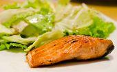 salmon steak with fresh vegetable , fish dish poster
