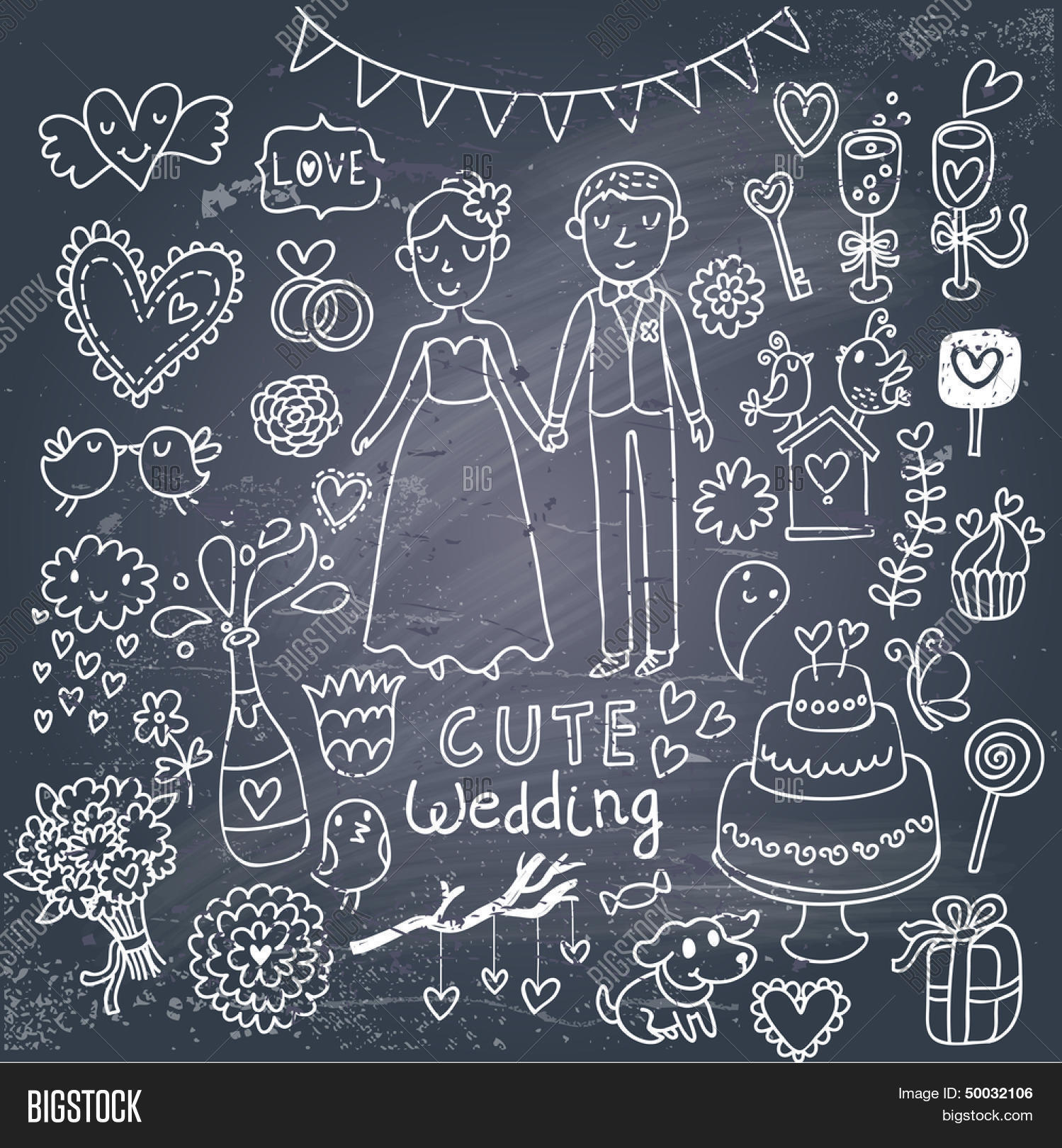 Vintage Wedding Set In Cartoon Style On Chalkboard Background Couple Of Lovers Birds: Drawn Chalkboard Wedding Ring At Reisefeber.org