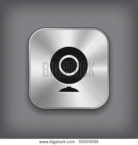 Webcamera Icon - Vector Metal App Button