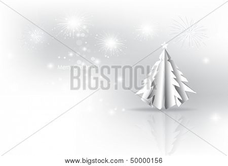 Christmas background with Paper Christmas tree, vector illustration.