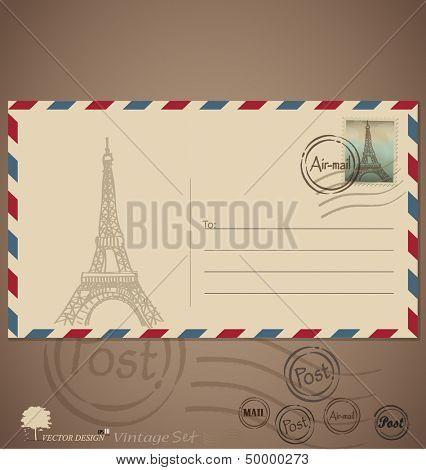 Vintage envelope designs with postage stamp. Vector illustration.