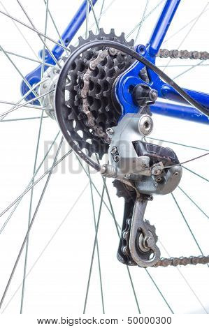 Old Road Bicycle Rear Hub, Sprockets And Derailleur.