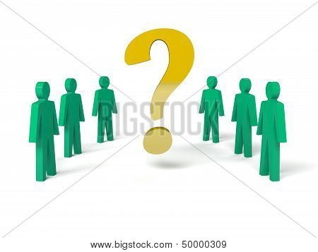 Group of man with a question mark.