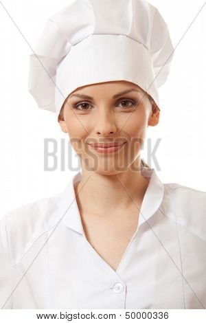 smiling woman chef / cook