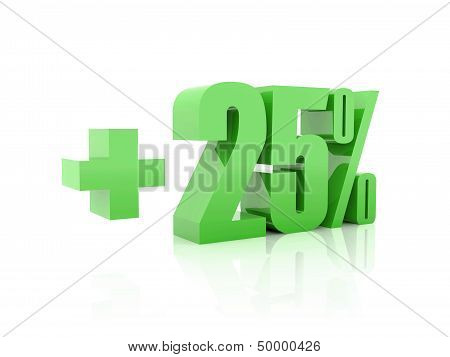 Plus 25 percent. Over white background. Concept 3D illustration.