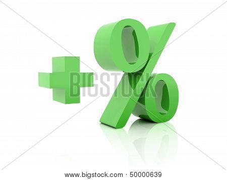 Plus percent. Concept 3D illustration