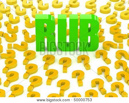 RUB sign surrounded by question marks.