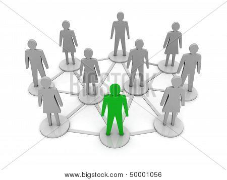 People connections. Unique leadership. Concept 3D illustration