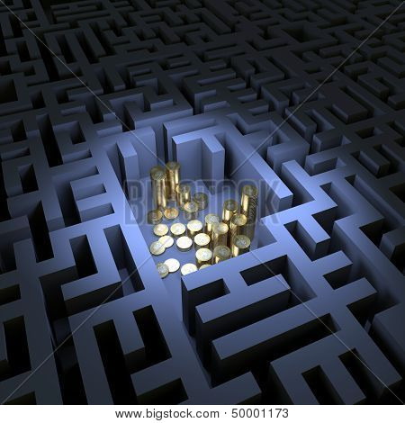Coins in the dark labyrinth