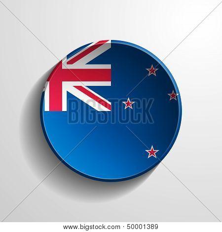 New Zealand 3D Round Button