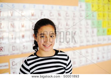 Cute lovely school children at class with periodic table of the elements