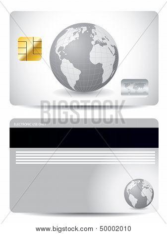 Gray Globe Credit Card Design