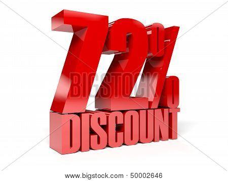 72 percent discount. Red shiny text. Concept 3D illustration.