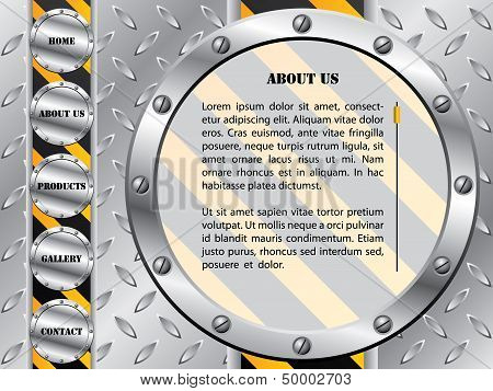 Metallic Plate With Screws Web Template
