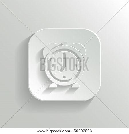 Alarm Clock Icon - Vector White App Button