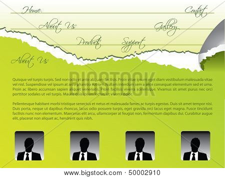 Green Torn Web Template