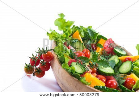 Salad With Fresh Cucumbers And Tomatoes