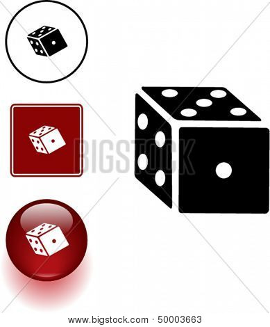 dice symbol sign and button