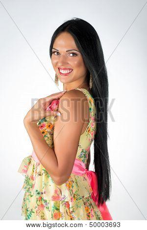 Young girl posing in studio